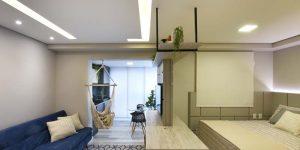 Arquitetas ambientam flat com móveis multifuncionais